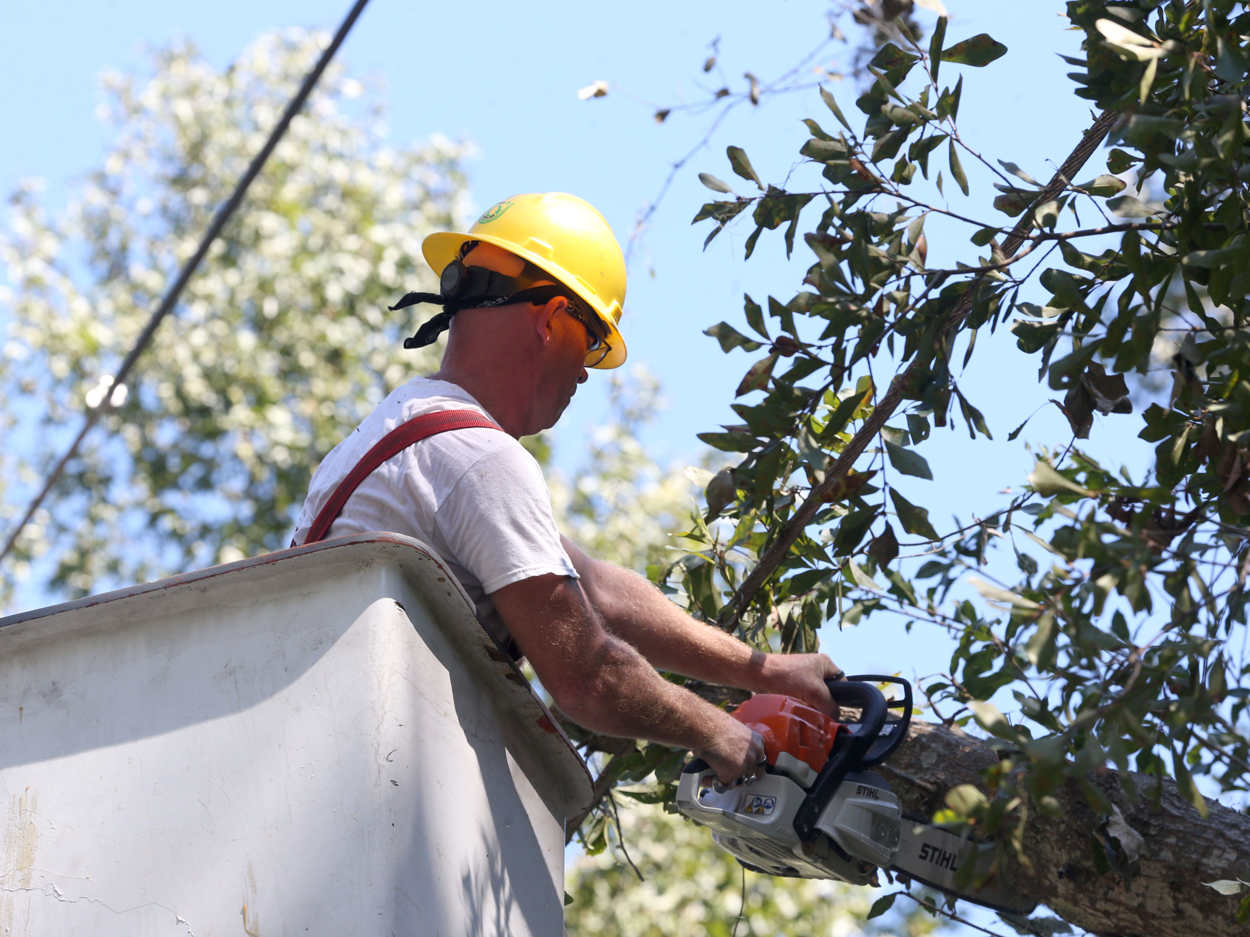 Tree service men work on removing branches from power lines  on Oct. 13, 2018, three days after Hurricane Michael struck the Florida panhandle.
