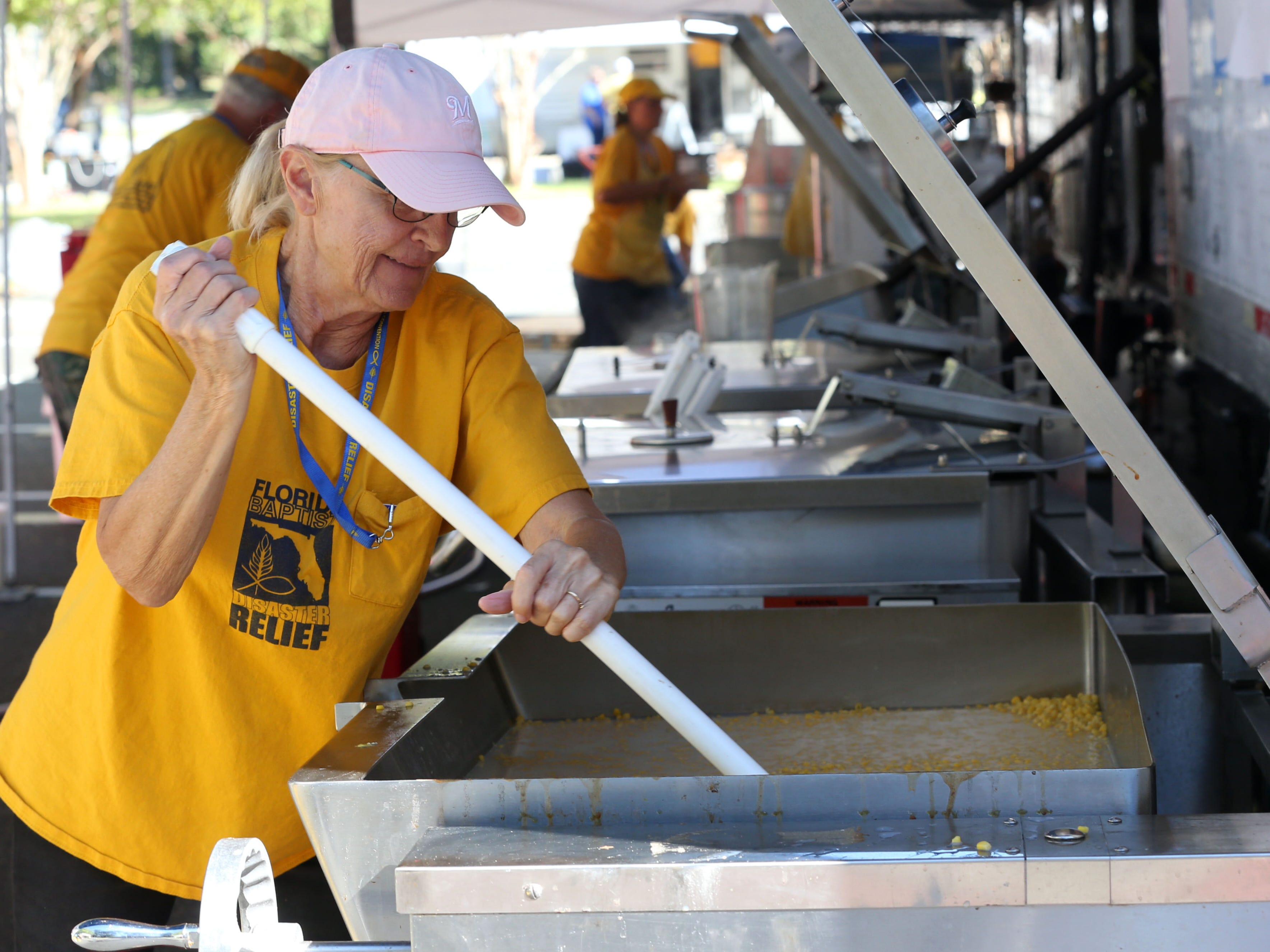 Southern Baptist Disaster Relief and the American Red Cross team up at Thomasville Road Baptist Church to make and package meals for locals on Saturday, Oct. 13, 2018, three days after Hurricane Michael struck the Florida panhandle.