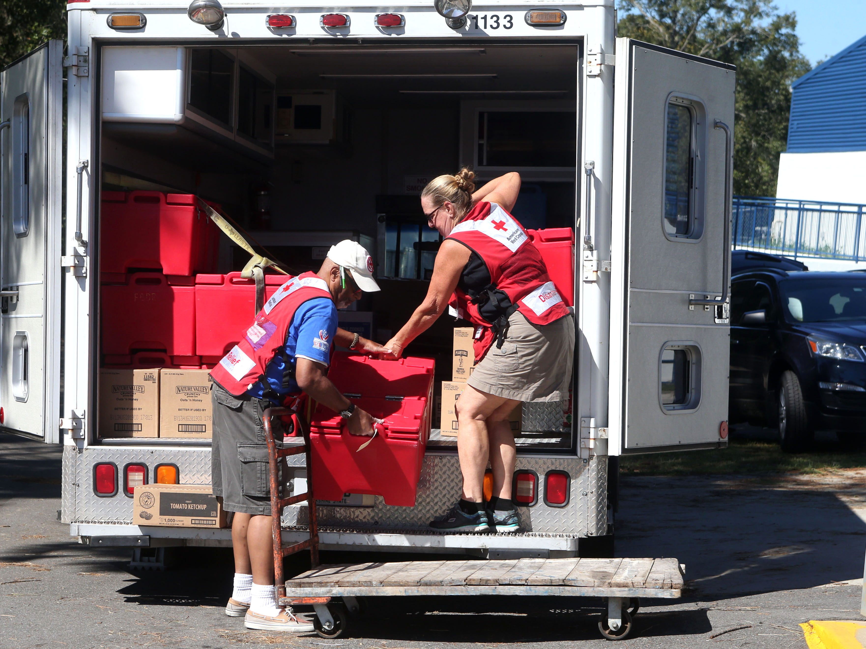 Red Cross volunteers deliver meals to SAIL high school for Tallahasseeans seeking refuge on Oct. 13, 2018, three days after Hurricane Michael struck the Florida panhandle.