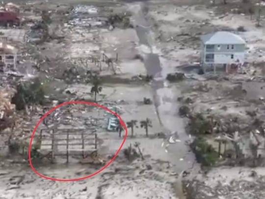The circle shows where the Moore's beach home stood on Mexico Beach.