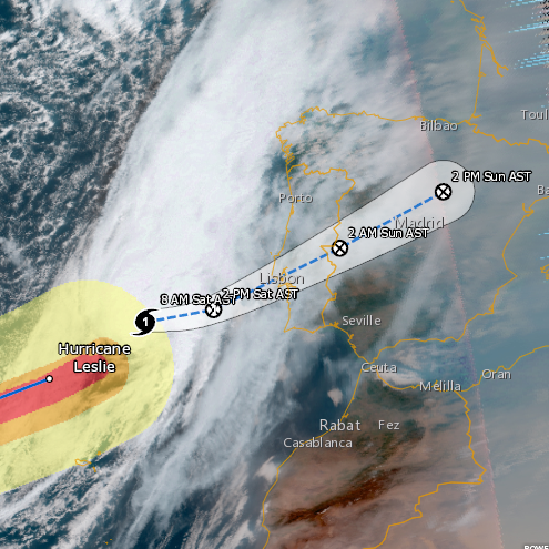 Tropics finally quiet, with Hurricane Leslie bearing down on Portugal, Spain