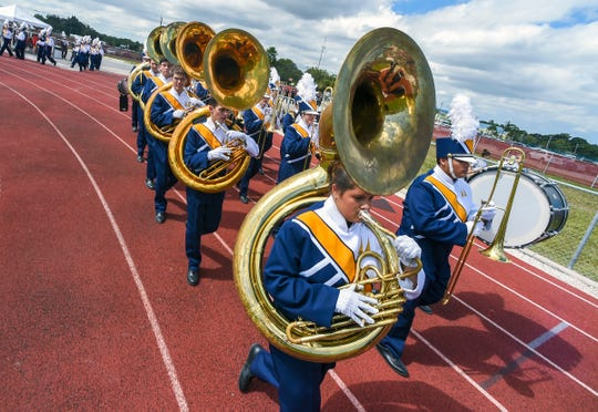 The second annual Marching Band Showcase is Saturday at Lawnwood Stadium in Fort Pierce. Pictured is the 37th annual Crown Jewel Marching Band Festival in Vero Beach.