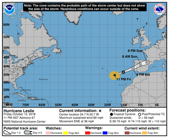 Projected path of Hurricane Leslie as of 11 p.m. Friday, Oct. 12, 2018.