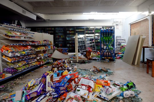 Oct. 12, 2018, Panama City, FL, USA; A pile of wasted food, broken glass and water sit in the middle of the Shop N Go Jr. convenience store after Hurricane Michael blew through the area. The owner, Mahbubur Rahman, opened his doors for the first time on Monday only to have to lock the doors on Tuesday. He lost everything on Wednesday during the storm.