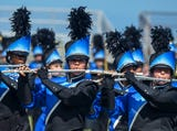 Sayreville High School's marching band performs during halftime of a game earlier this season