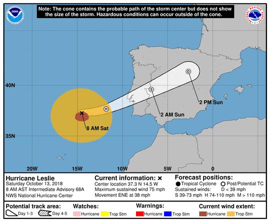 Hurricane Leslie 8 a.m. Oct. 13, 2018