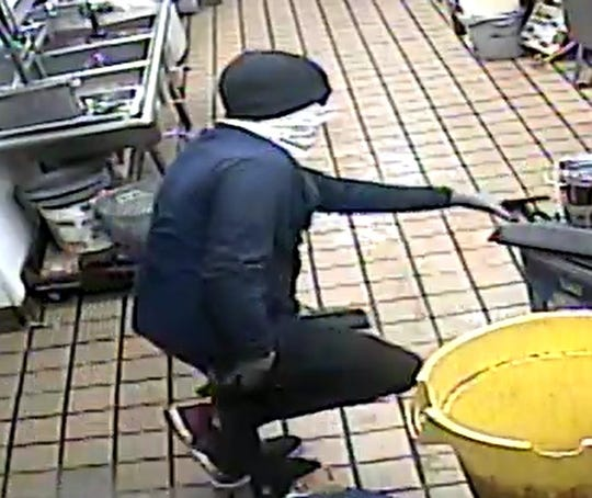 An armed robber threatened McDonald's employees during the crime Aug. 27 at the restaurant at 7392 Alameda Ave.