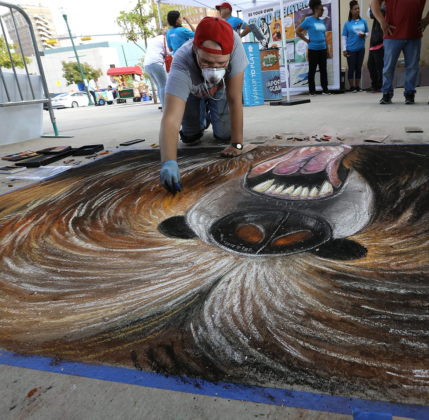 Art colors sidewalks of Downtown El Paso for annual Chalk the Block