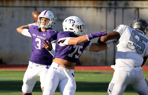 New Rochelle quarterback Mac Coughlin was named lohud's Football Player of the Week after throwing three touchdowns in a 42-7 state-playoff win over Newburgh.