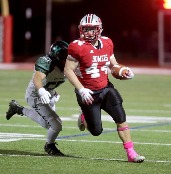 Jack Kaiser of Somers rushes against Eddie Capone of Yorktown during a Class A playoff qualifying round game at Somers High School Oct. 12, 2018. Somers defeated Yorktown 26-7.