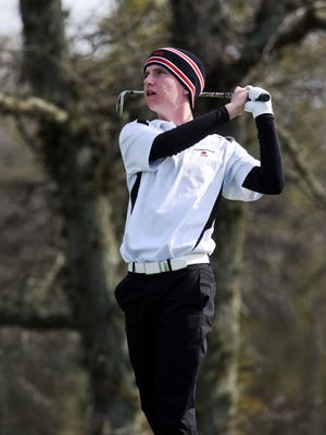Crooksville's Owen Carney tees off on the 17th hole during last year's Division III state tournament at North Star Golf Club. Carney fired a team-best 79 on Wednesday, as the Ceramics won their third straight sectional title.