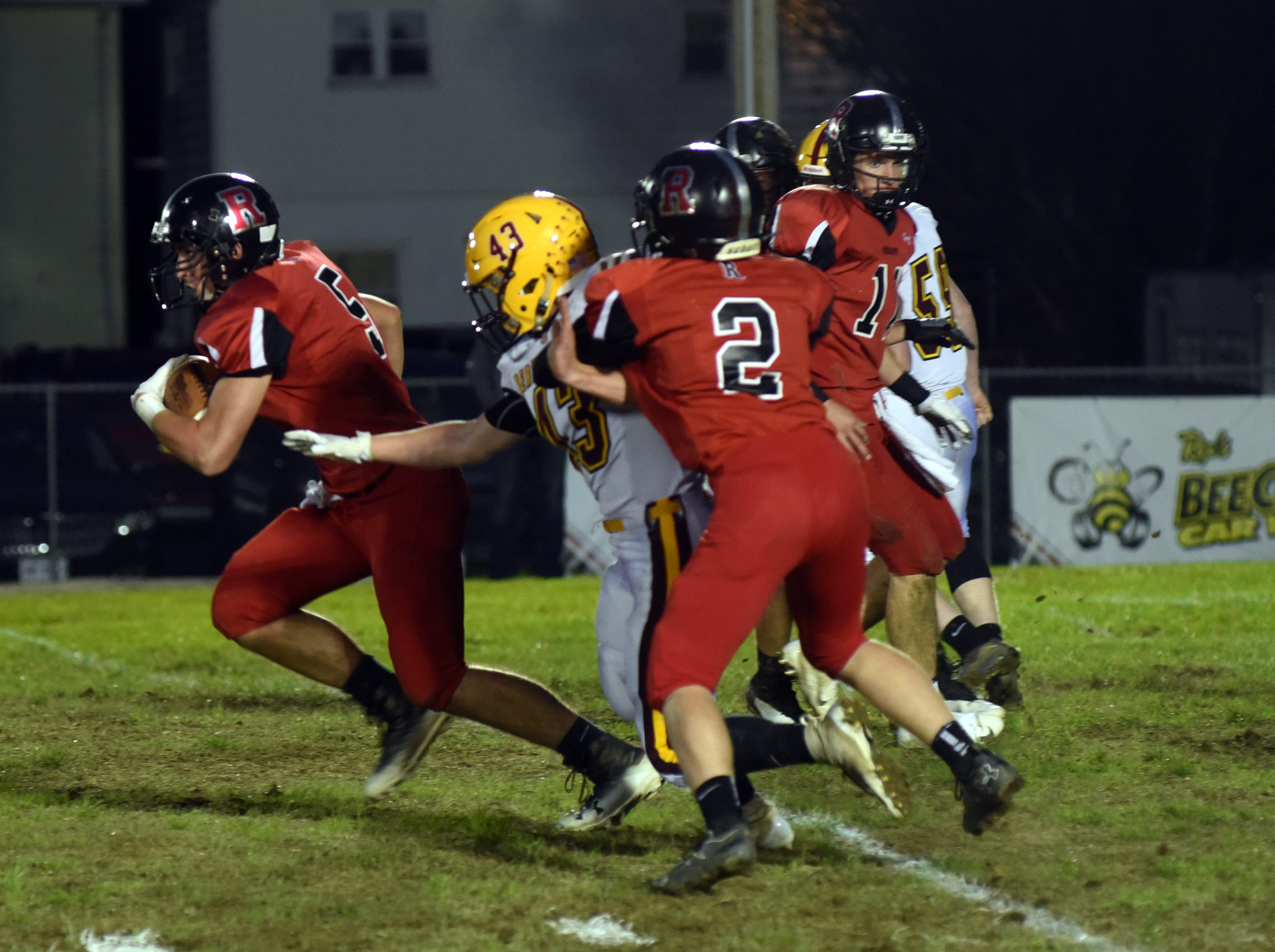 Rosecrans' Marcus Browning runs past a Berne Union defender in Berne Union's 41-14 win on Friday.
