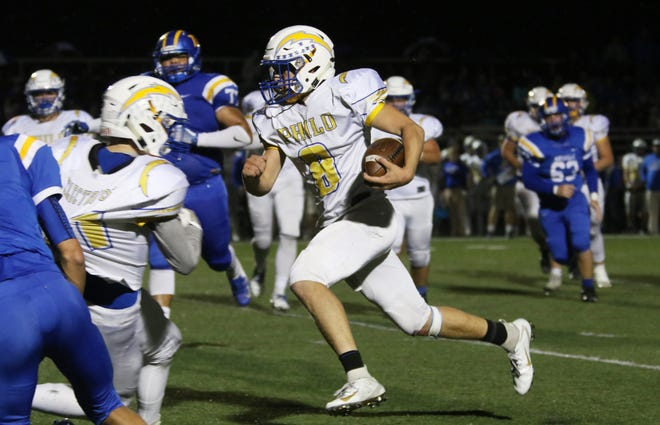 Philo's Hunter Adolph runs the ball in a win against Maysville earlier this season. The Electrics are one of four area teams still in the playoff hunt and must win to have a chance of reaching the postseason.