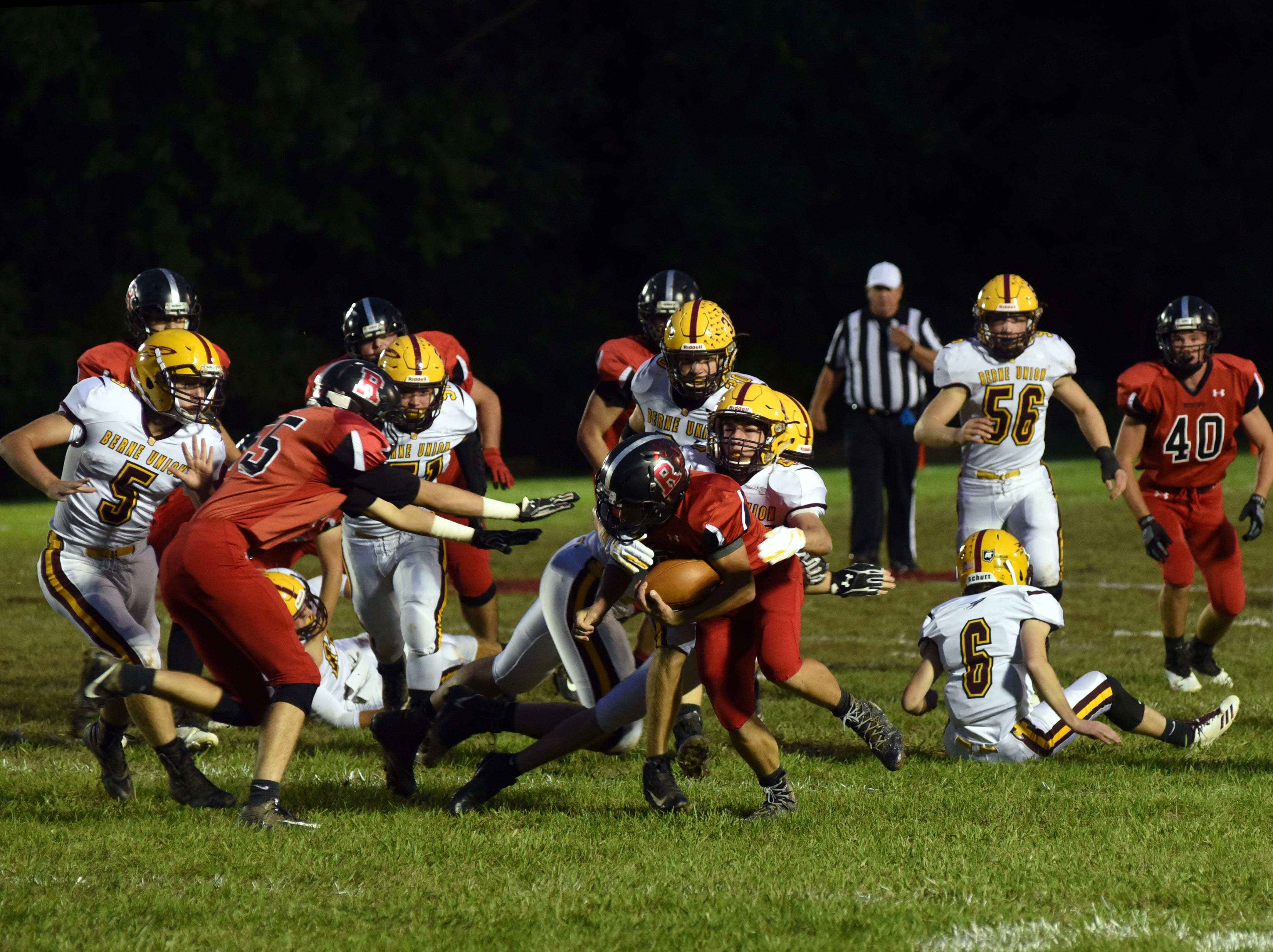 Rosecrans' Carter Dosch fights for extra yards against Berne Union in Friday's 41-14 loss.