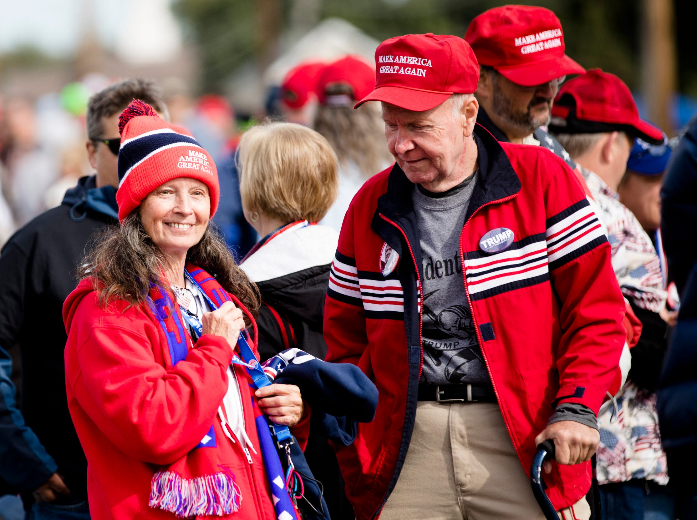 Arvil Runyon and his wife, Emma Runyon, of West Virginia, wait in line for President Donald J. Trump's Make America Great Again Rally.