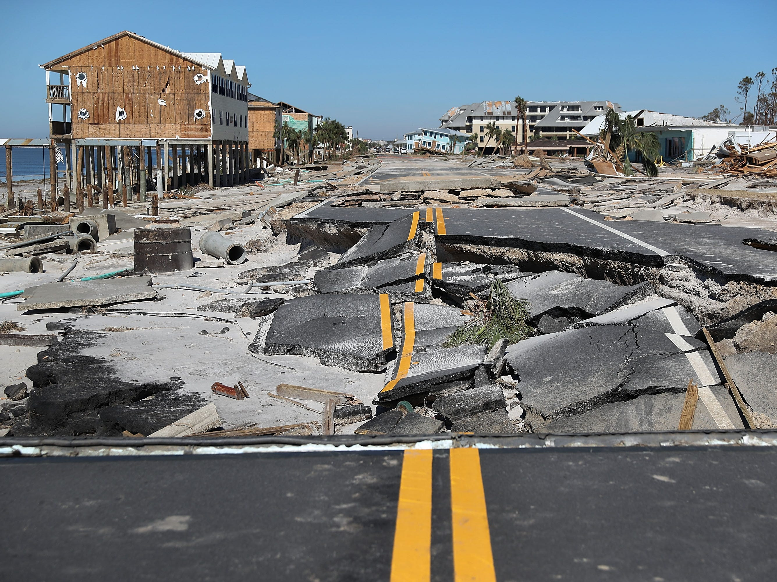 State Road 98 is torn up after Hurricane Michael passed through the area on Oct. 12, 2018 in Mexico Beach, Fl.  The hurricane hit the panhandle area with category 4 winds causing major damage.