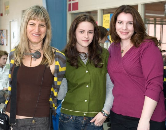 "Woman power: ""Twilight"" director Catherine Hardwicke, star Kristen Stewart and author Stephenie Meyer on the set. ""Stephenie Meyer did such a fantastic job capturing what it feels like to be madly, crazy stupid in love,"" Hardwicke says."