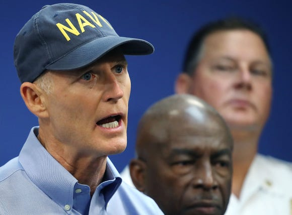 Florida Governor Rick Scott gives an update to the media regarding Hurricane Irma on September 6, 2017 in Doral, Florida.
