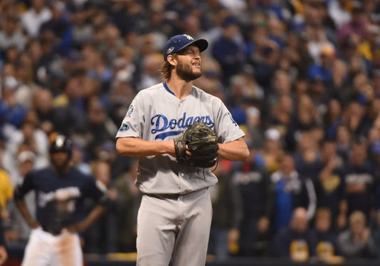 3ea170463 Mlb Nlcs Los Angeles Dodgers At Milwaukee Brewers. Clayton Kershaw ...
