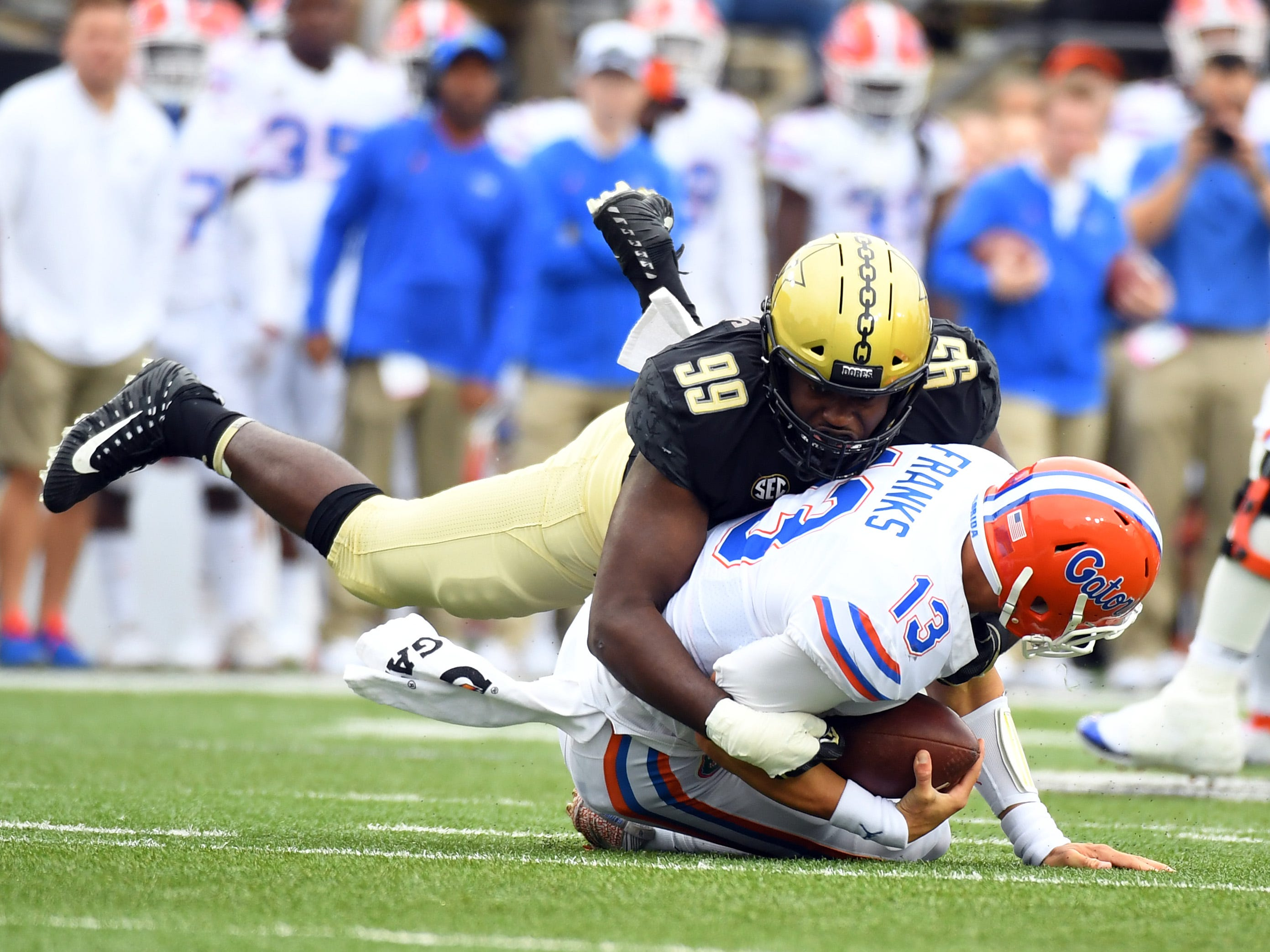 Vanderbilt defensive lineman Stone Edwards sacks Florida quarterback Feleipe Franks during the first half.