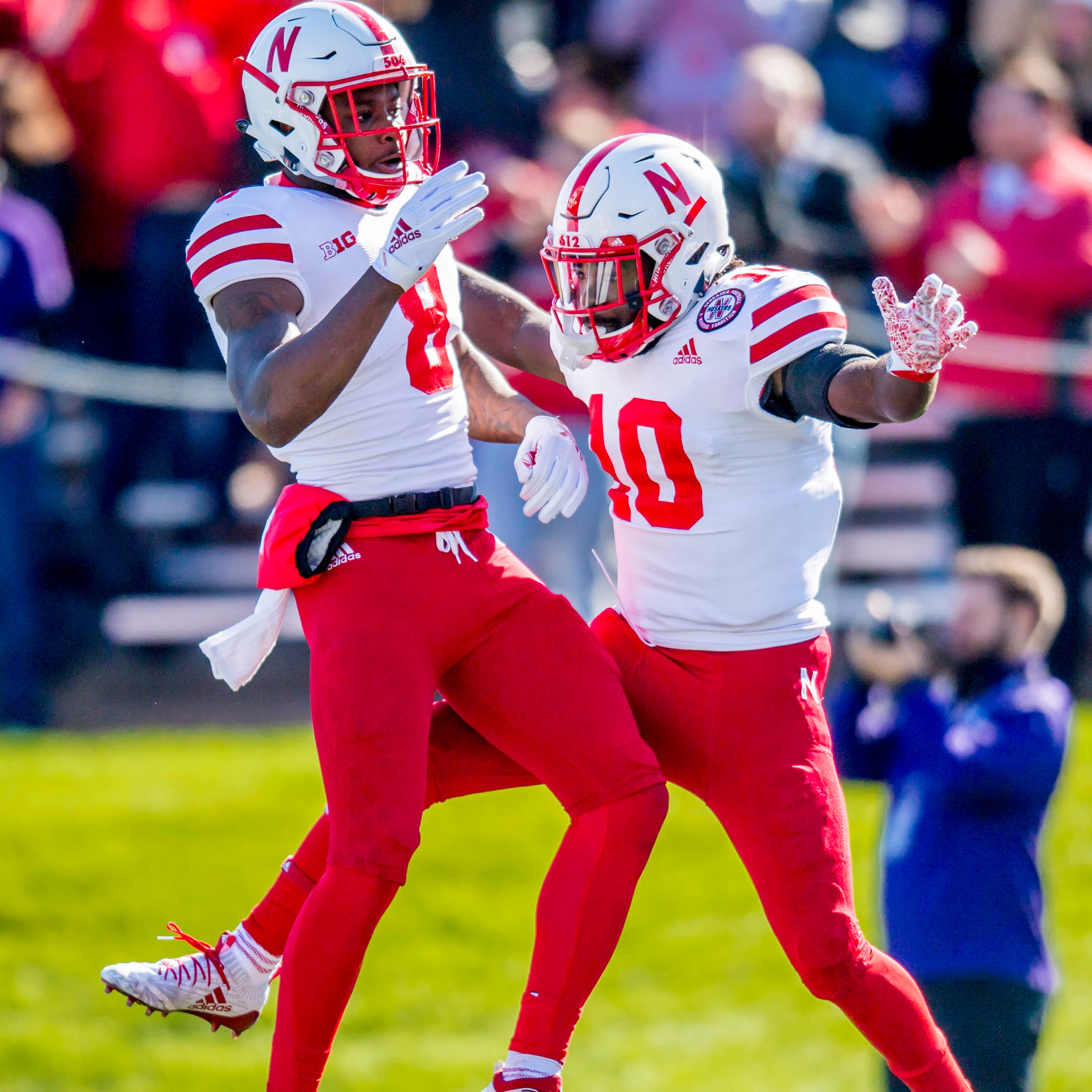 Nebraska wide receiver JD Spielman (10) celebrates his touchdown with wide receiver Stanley Morgan Jr. during the first quarter against Northwestern.