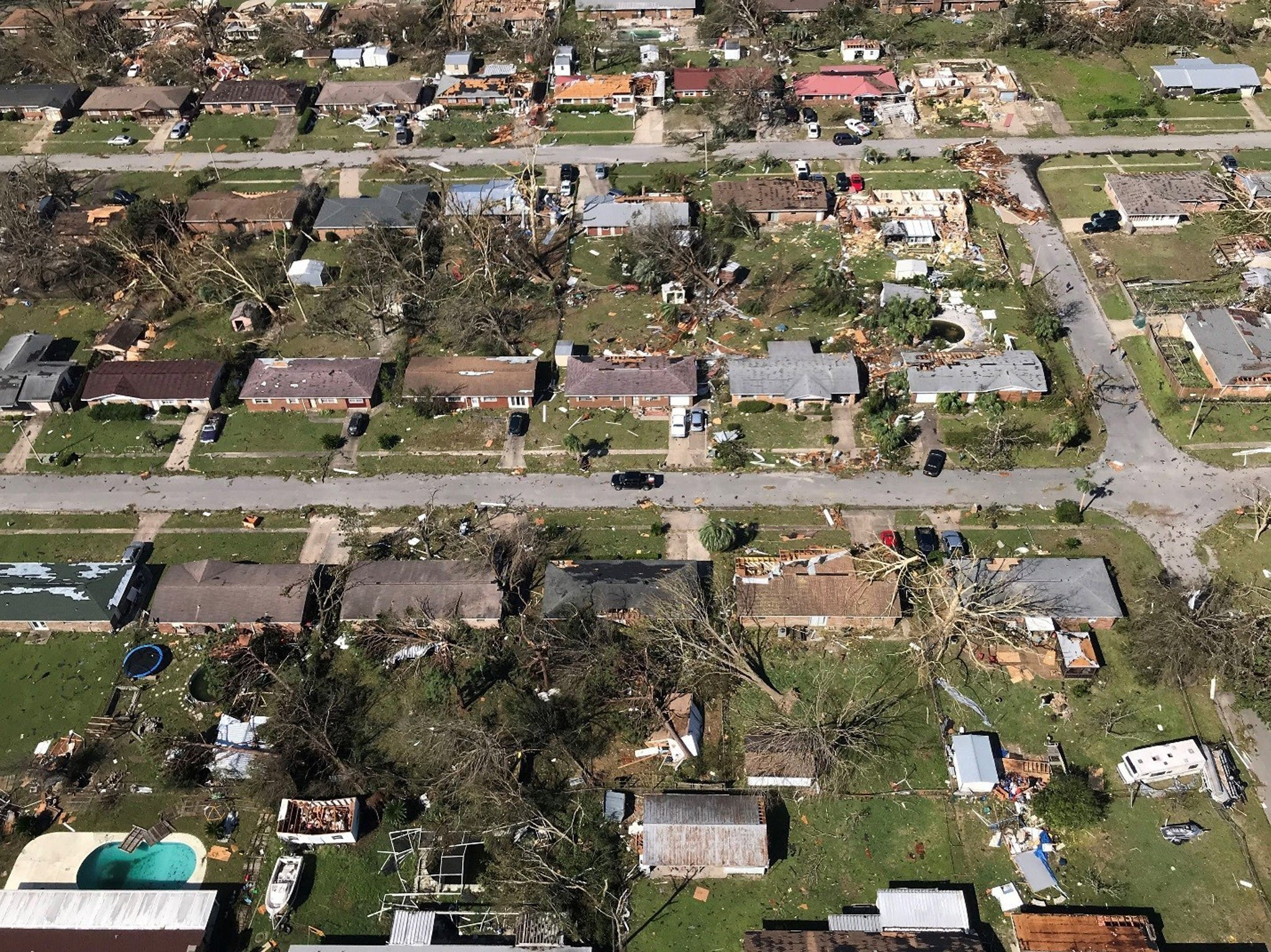 A handout photo made available by the Florida National Guard on Oct. 13, 2018 shows portions of the Florida panhandle devastated following the strike of Hurricane Michael, in Callaway, Fl. on Oct. 11, 2018. This photo was taken as part of the air surveillance that was done to assess the damage caused by the hurricane. Category 4 storm Hurricane Michael devastated northwestern Florida with winds of up to 155 miles per hour and flooding. Florida Governor Rick Scott activated over 2,000 troops of the Florida National Guard to respond to the disaster.