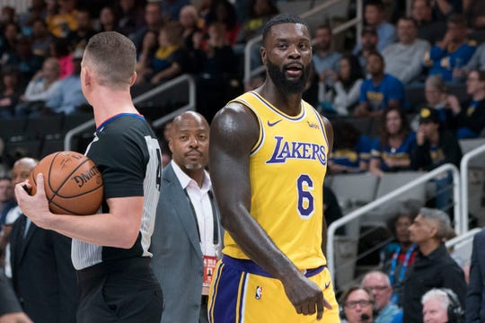 Los Angeles Lakers guard Lance Stephenson leaves the court after being ejected against the Golden State Warriors.