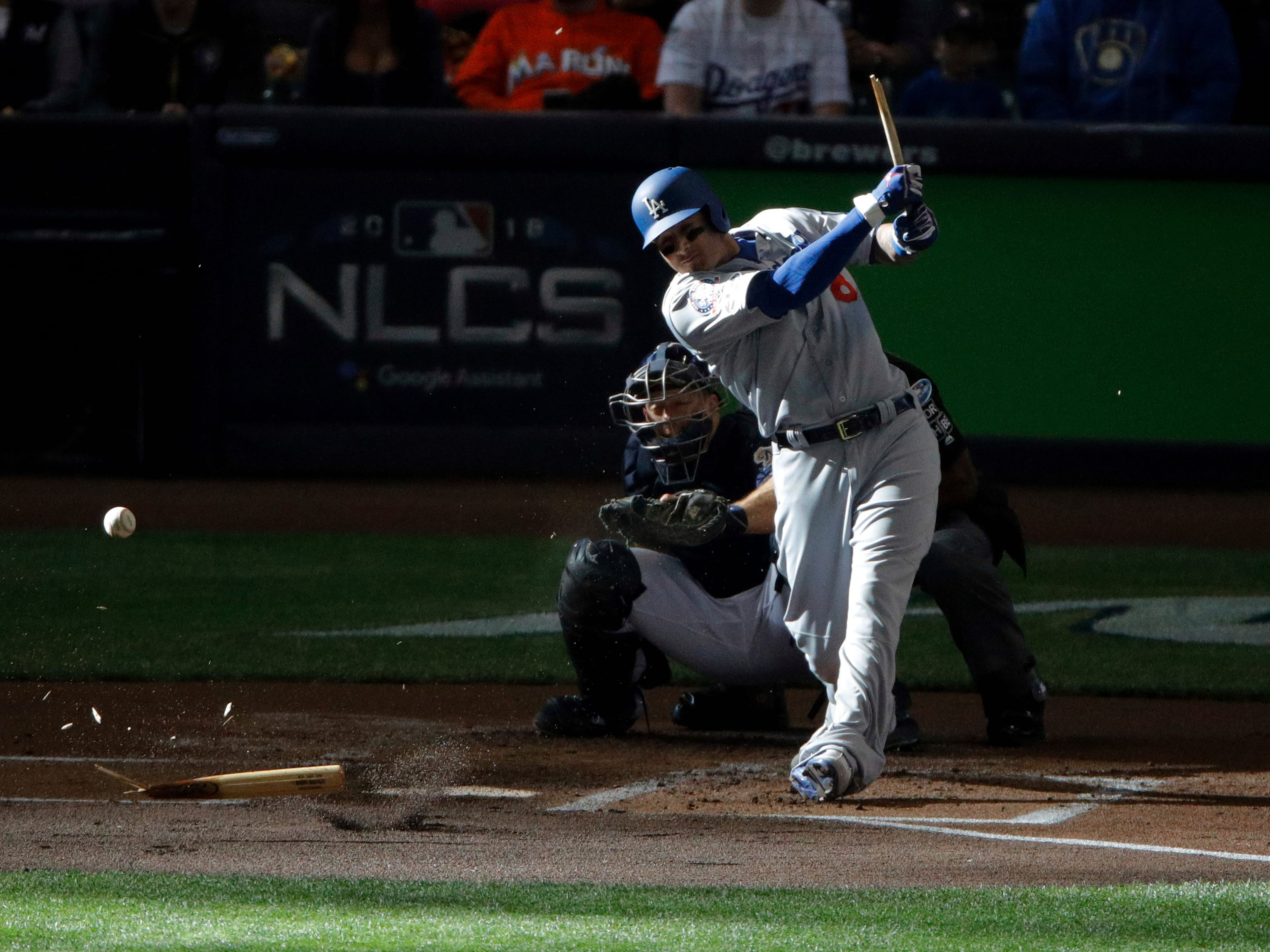 NLDS Game 2: Dodgers' Manny Machado shatters his bat in the first inning.
