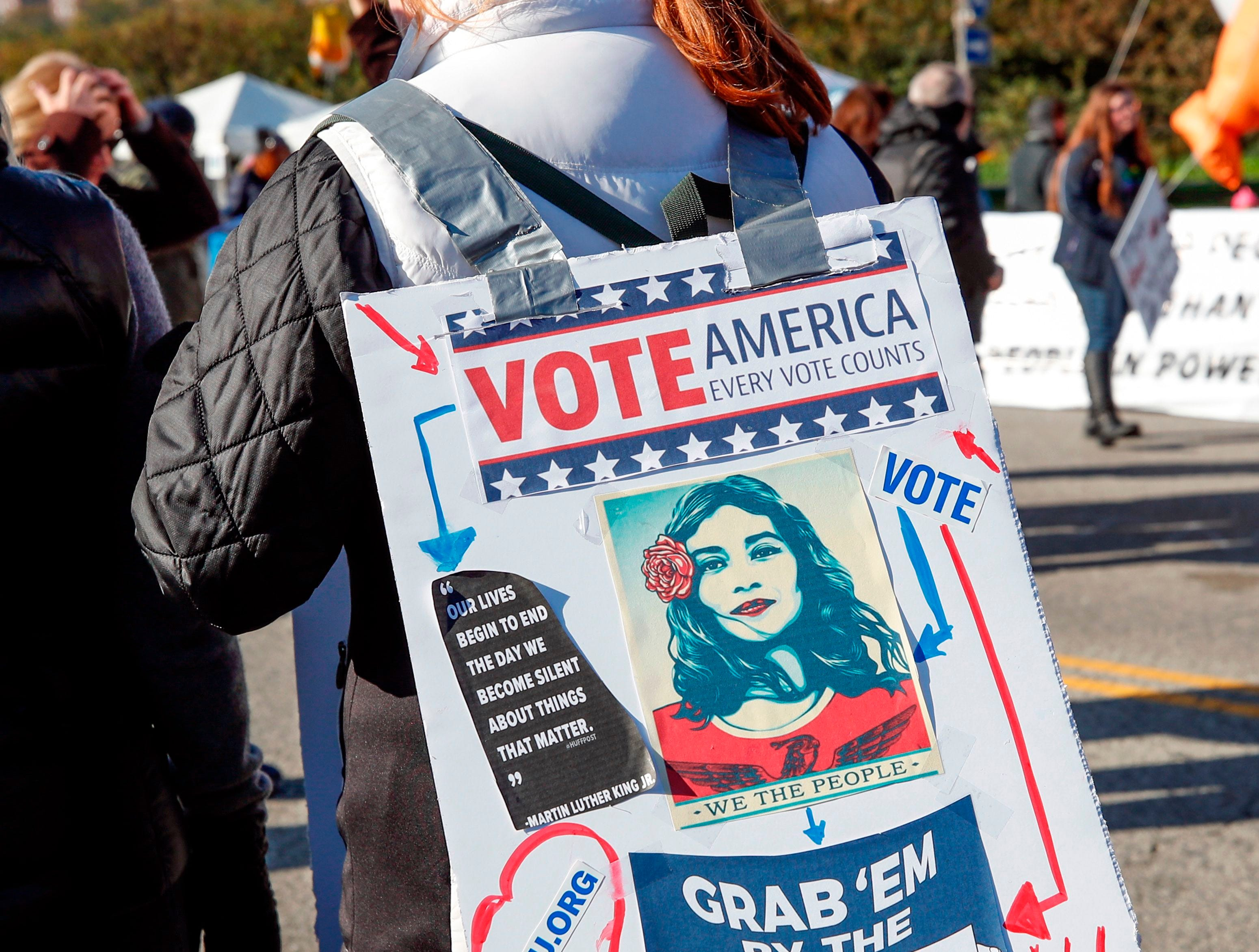 Women gather for a rally and march at Grant Park on Oct. 13, 2018 in Chicago, Ill. to inspire voter turnout ahead of midterm polls in the United States.