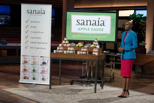 Keisha Jeremie from New York pitches her upscale Sanaia applesauce to the sharks on ABC's 'Shark Tank.'