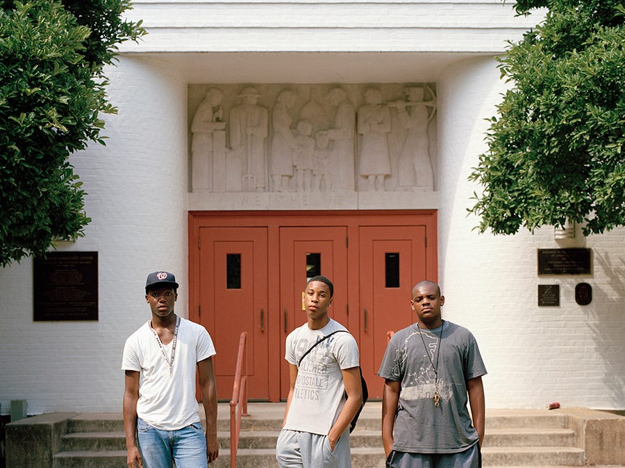 Teens in front of a community center in Greenbelt, Maryland.