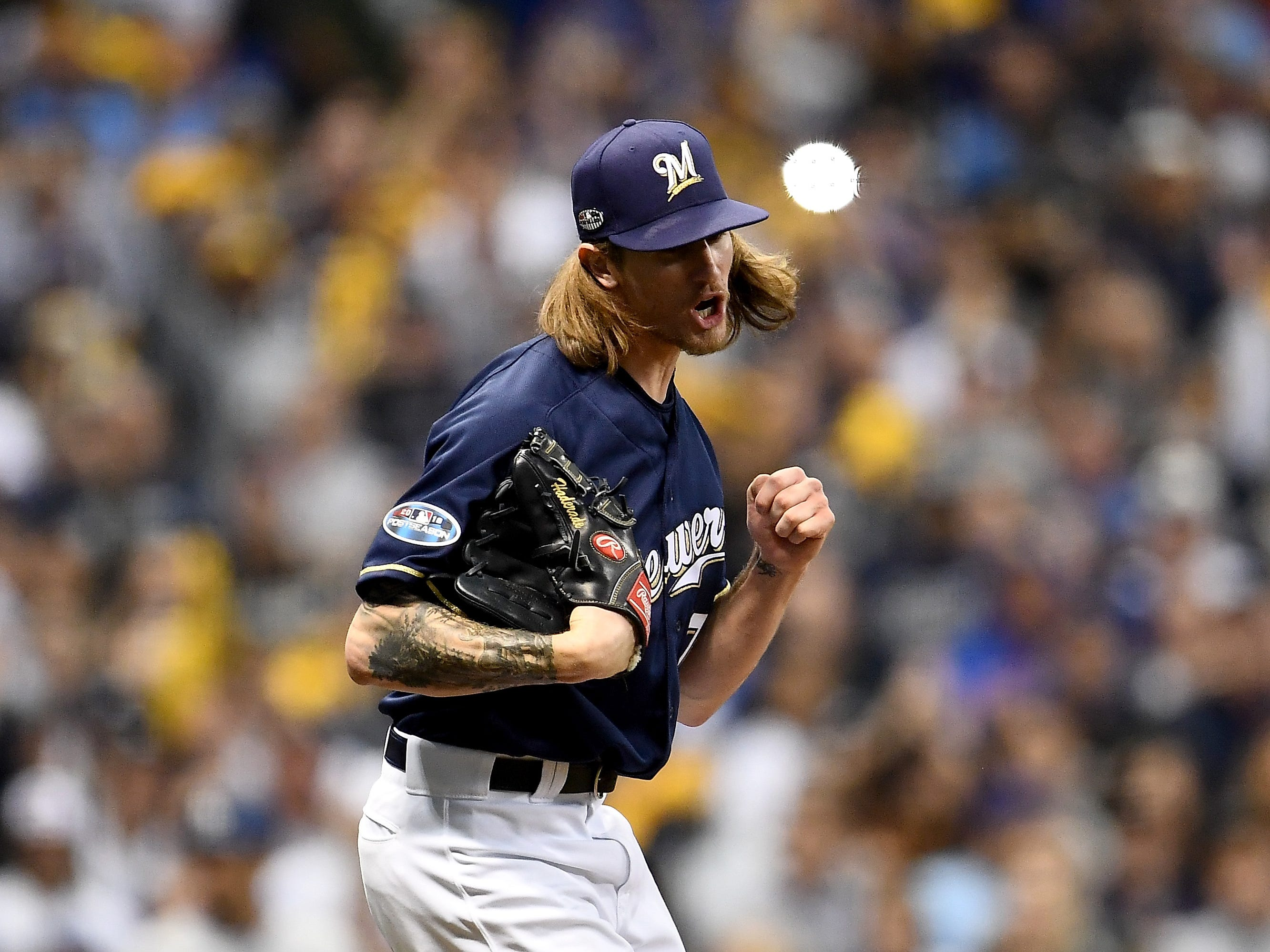 NLDS Game 1: Brewers reliever Josh Hader closes out the sixth inning.