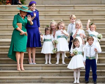 Sarah Ferguson And Princess Beatrice The Bridesmaids Page Boys Wave After Wedding