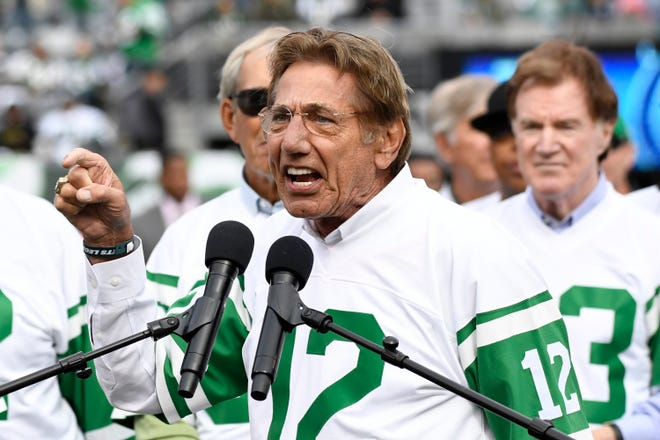 Former New York Jets quarterback Joe Namath speaks during a halftime celebration honoring the 50th anniversary of Super Bowl III during an NFL football game between the Jets and the Indianapolis Colts, Sunday, Oct. 14, 2018, in East Rutherford, N.J.