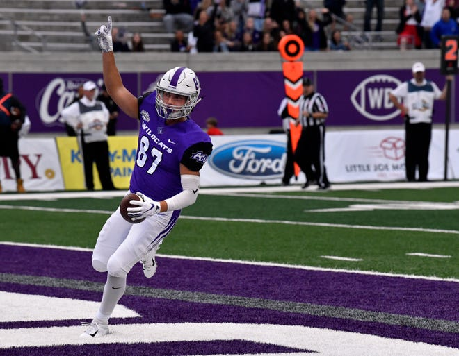 Wildcats wide receiver Josh Fink points skyward after scoring a touchdown for Abilene Christian University against the Nicholls University Colonels Saturday Oct. 13, 2018. Final score was 28-12, ACU.