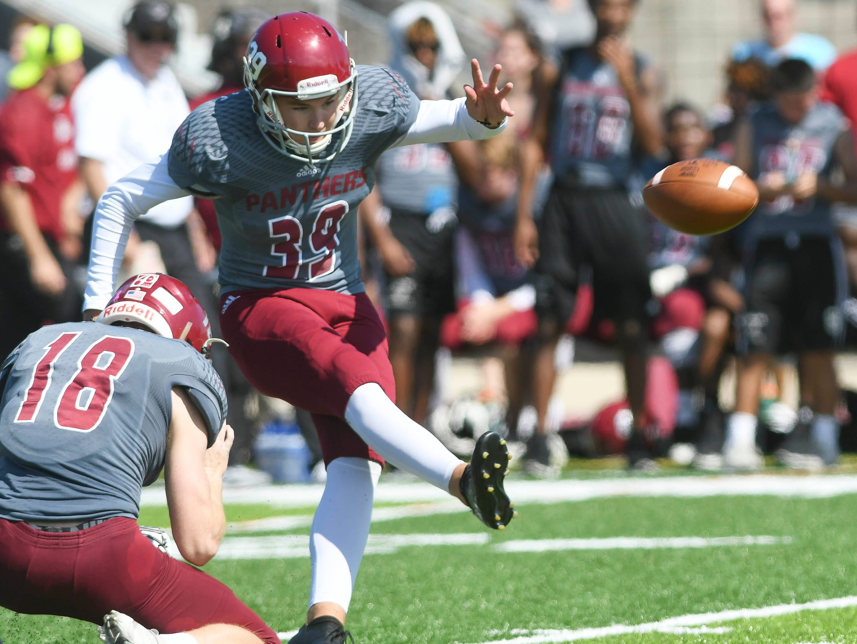 Kyle Gullikson attempts a field goal during Saturday's game against Valdosta State..