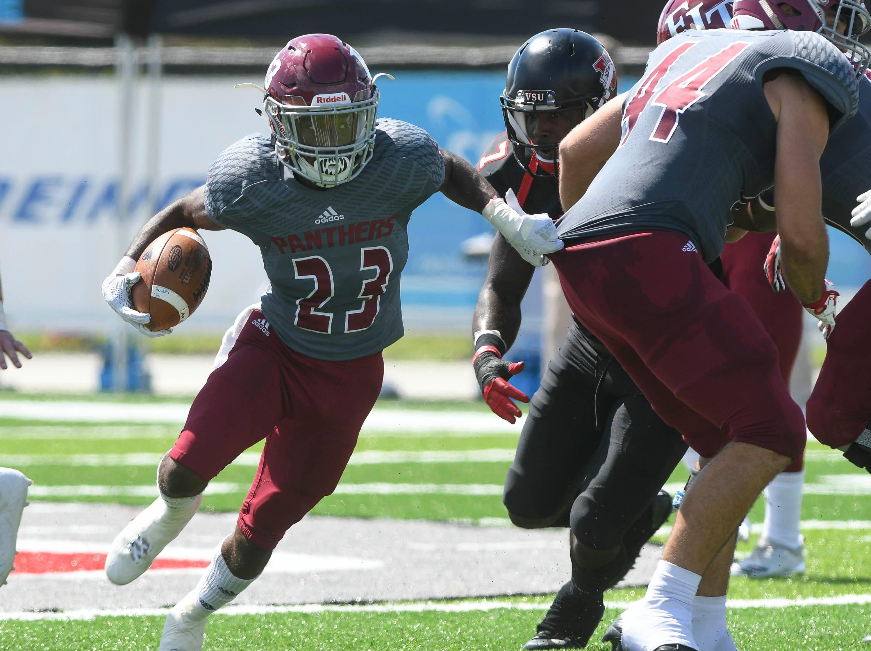 Kiaryn Davis of Florida Tech tries to run the ball during Saturday'a game against Valdosta State.