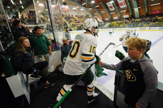 Vermont forward Vald Dzhioshvilli (10) takes the ice for warm ups during the men's hockey game between the Quinnipiac Bobcats and the Vermont Catamounts at Gutterson Field House on Saturday night October 13, 2018 in Burlington. (BRIAN JENKINS/for the FRESS PRESS)