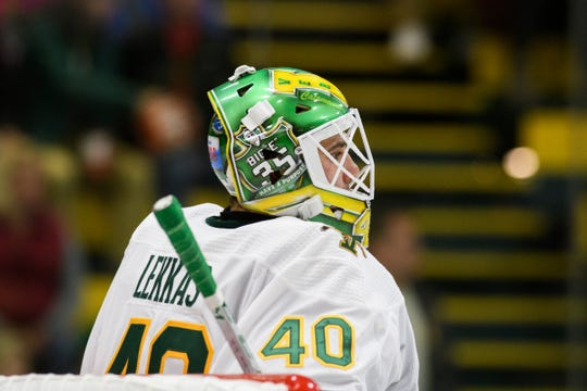 Vermont goalie Stefanos Lekkas (40) during the men's hockey game between the Quinnipiac Bobcats and the Vermont Catamounts at Gutterson Field House on Saturday night October 13, 2018 in Burlington. (BRIAN JENKINS/for the FRESS PRESS)