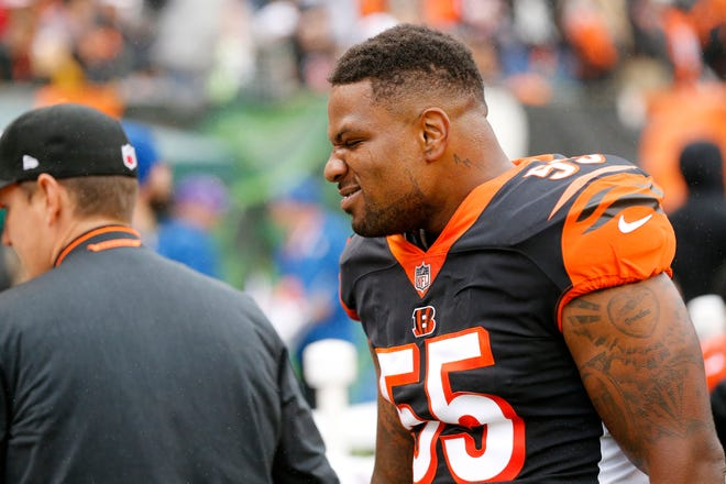 Cincinnati Bengals linebacker Vontaze Burfict (55) pumps up the defense on the sideline in the first quarter of the NFL Week 6 game between the Cincinnati Bengals and the Pittsburgh Steelers at Paul Brown Stadium in downtown Cincinnati on Sunday, Oct. 14, 2018. The game was tied 14-14 at half time.