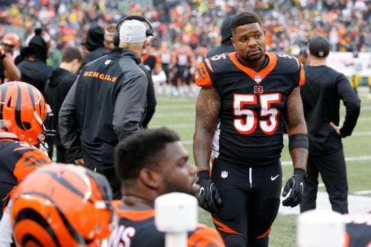 Cincinnati Bengals linebacker Vontaze Burfict (55) walks the sideline after the Steelers game-winning touchdown drive in the fourth quarter of the NFL Week 6 game between the Cincinnati Bengals and the Pittsburgh Steelers at Paul Brown Stadium in downtown Cincinnati on Sunday, Oct. 14, 2018. The Bengals and Steelers exchanged late touchdowns, with the Pittsburgh coming out on top, 28-21.