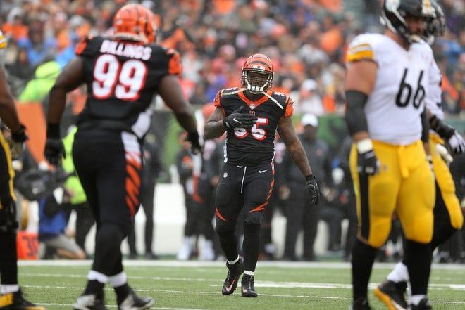 Cincinnati Bengals linebacker Vontaze Burfict (55) acknowledges a mistake in the second quarter during the Week 6 NFL game between the Pittsburgh Steelers and the Cincinnati Bengals, Sunday, Oct. 14, 2018, at Paul Brown Stadium in Cincinnati. It was tied 14-14 at the half.