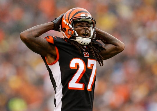 Cincinnati Bengals cornerback Dre Kirkpatrick (27) shouts to the crowd after a stop in the third quarter of the NFL Week 6 game between the Cincinnati Bengals and the Pittsburgh Steelers at Paul Brown Stadium in downtown Cincinnati on Sunday, Oct. 14, 2018. The Bengals and Steelers exchanged late touchdowns, with the Pittsburgh coming out on top, 28-21.