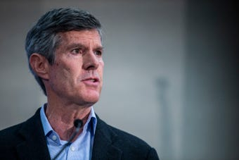 Fred Hubbell, Democratic candidate for governor, discusses mental health during a forum hosted by the Des Moines Register on Sunday, Oct. 14, 2018.