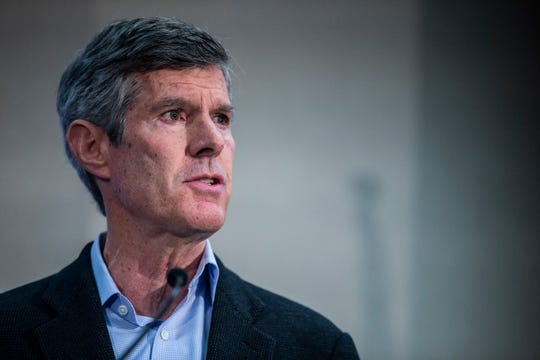 Fred Hubbell, Democratic candidate for governor, discusses mental health during a forum hosted by the Des Moines Register on Sunday, Oct. 14, 2018, at the Des Moines University campus in Des Moines.