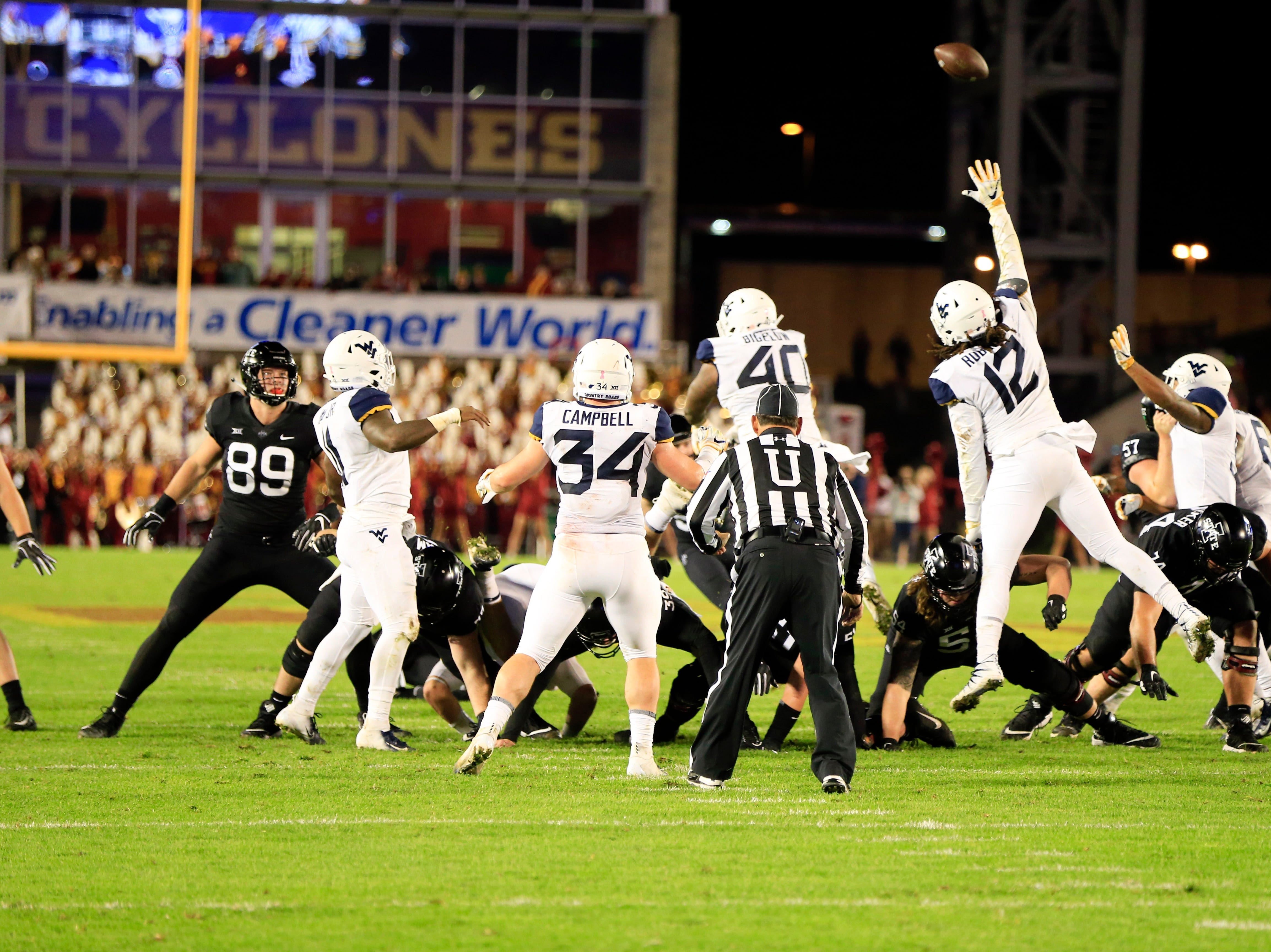 West Virginia blocks a field goal during the Iowa State West Virginia game at Jack Trice Stadium Saturday, Oct. 13, 2018.
