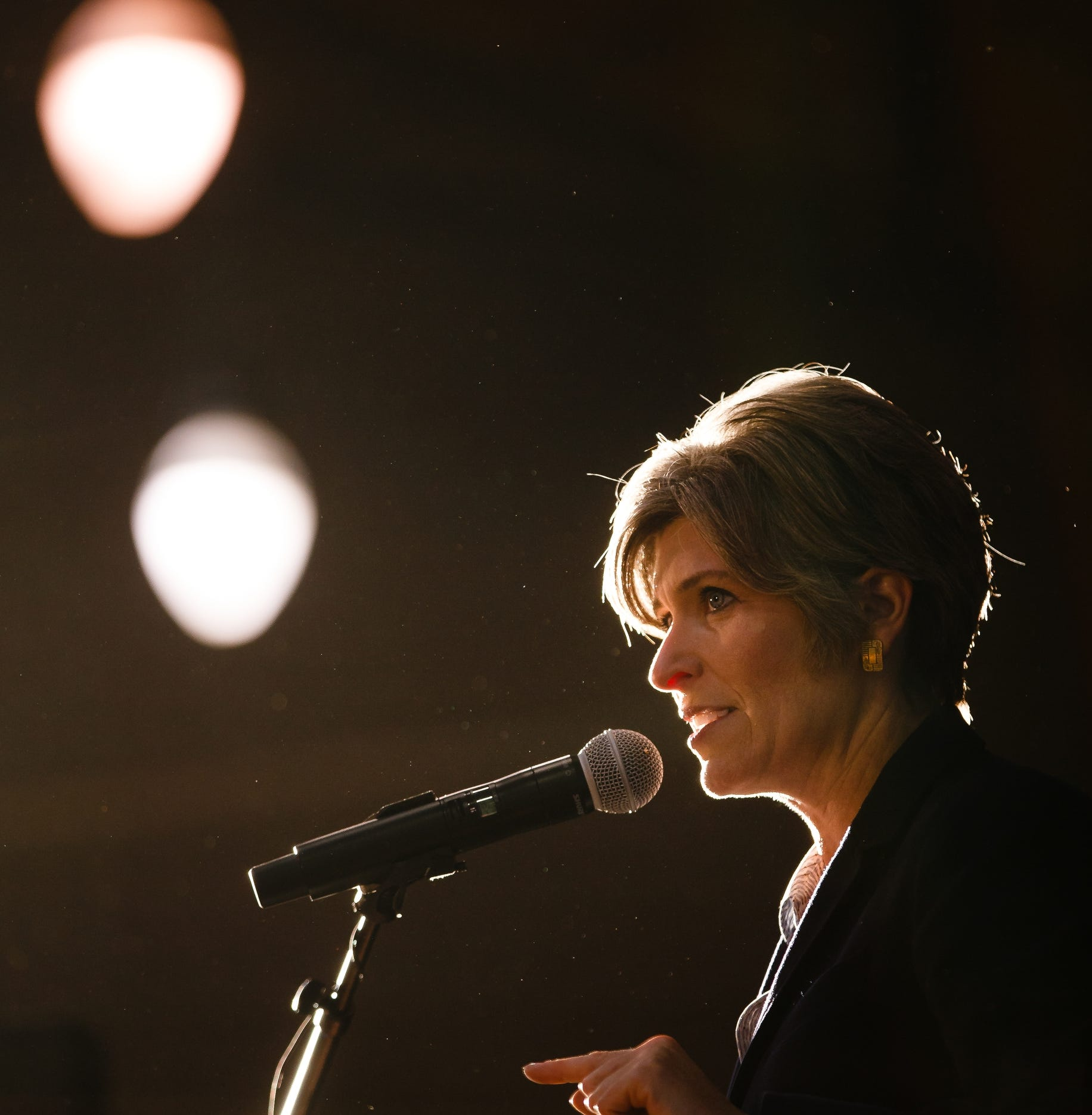 Sen. Joni Ernst speaks during Gov. Reynolds Harvest Festival at the Knapp Animal Learning Center on Saturday, Oct. 13, 2018, in Des Moines.