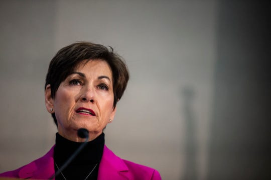 Iowa Governor Kim Reynolds discusses mental health in Iowa during a forum hosted by the Des Moines Register on Sunday, Oct. 14, 2018, at the Des Moines University campus in Des Moines. Reynolds, Fred Hubbell and Jake Porter, all candidates for governor spoke to the crowd.