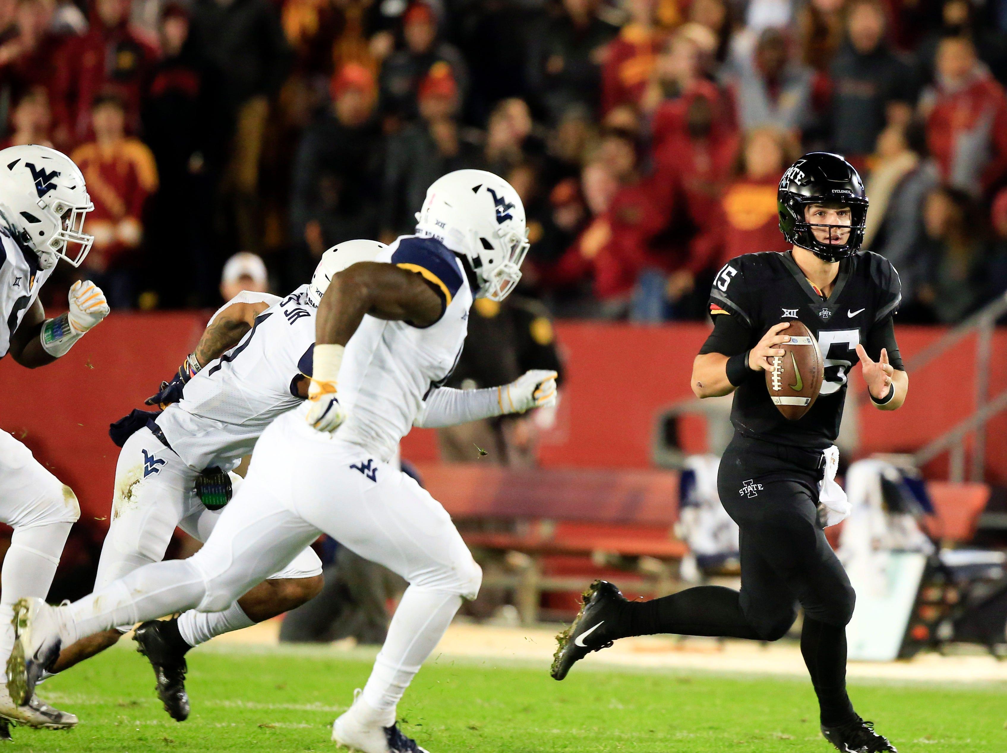 Iowa State quarterback Brock Purdy looks to pass during the Iowa State-West Virginia game at Jack Trice Stadium Saturday, Oct. 13, 2018.