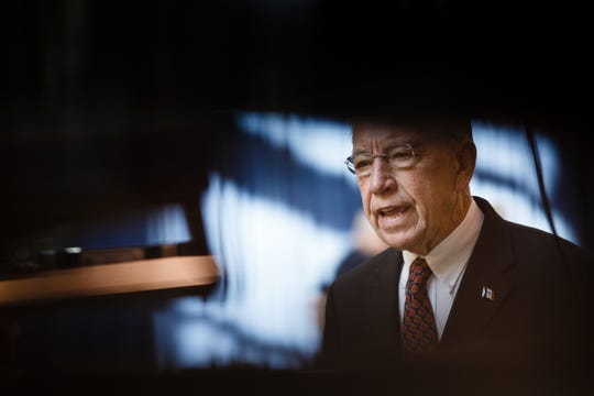 Sen. Chuck Grassley does an interview before Gov. Reynolds Harvest Festival at the Knapp Animal Learning Center on Saturday, Oct. 13, 2018, in Des Moines.